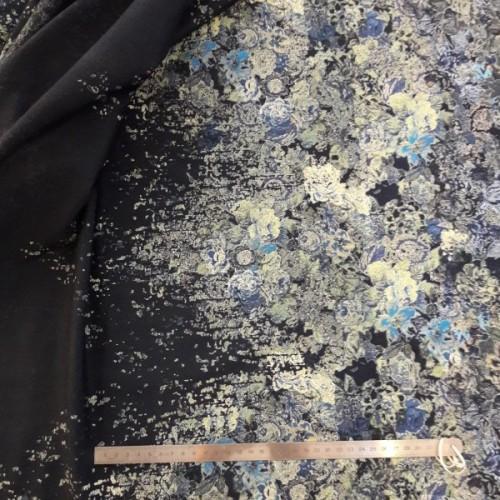 Tissu jersey imprimé flower bleu vert sur fond bleu (par 10cm)