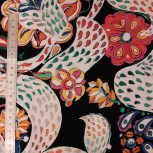 Tissu jersey fluide motif coloré sur noir (par 10cm)