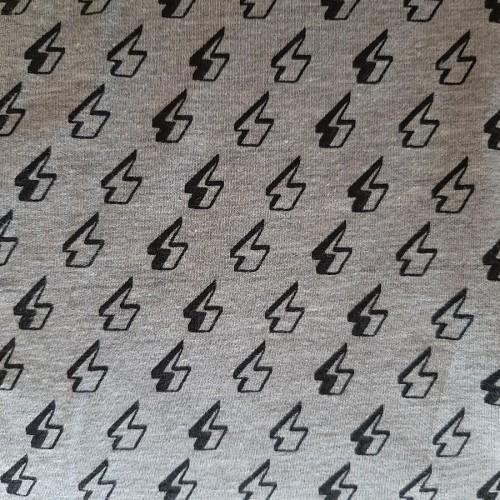 Jersey gris chiné imprimé éclair (par 10cm)