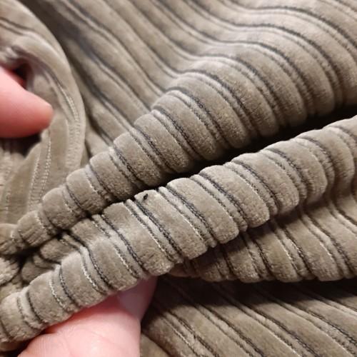 Jersey côtelé kaki (par 10cm)